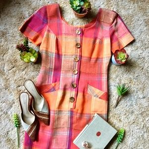 {Vintage} Autumn Plaid Wood Button Midi Dress, 4
